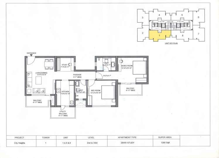 M3M City Heights 1390-sqft-2-BHKStudy