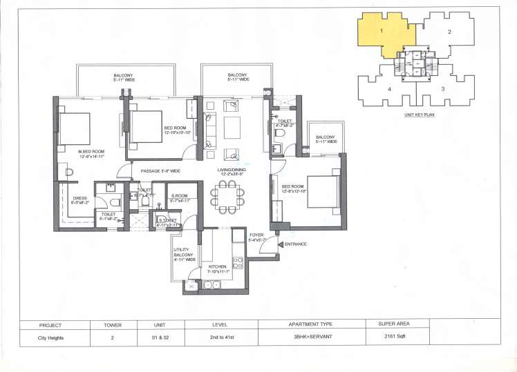 M3M City Heights 2161-sqft-3-BHK-Servant