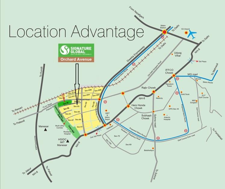 Signature global Orchard Avenue Location Mapb