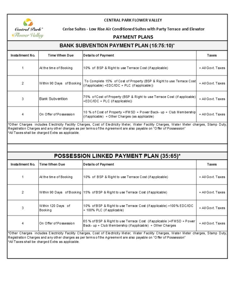 Price & Payment Plan - Cerise Suites 2